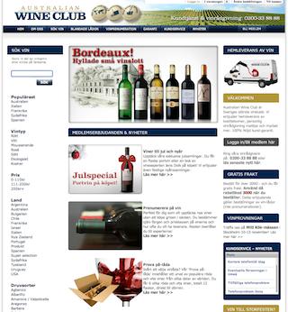 Skärmdump Australian Wine Clubs webbplats