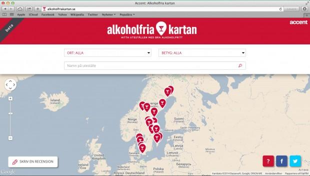 Alkoholfria kartan är en tjänst från Accent. Här kan du hitta uteställen med bra alkoholfritt – och själv recensera det alkoholfria utbudet.