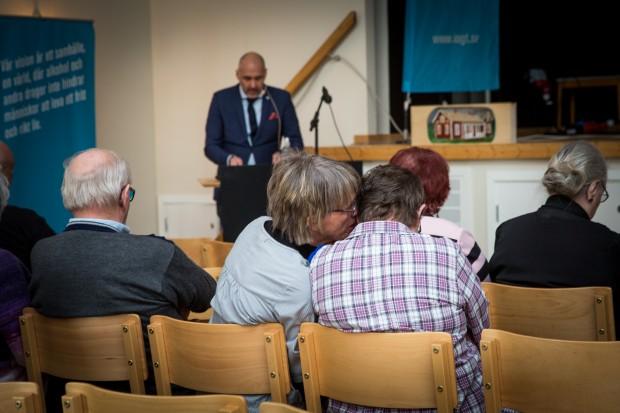 Förbundsordförande Johnny Mostacero pratade om engagemang och känsla av sammanhang. Foto: Nathalie C. Andersson