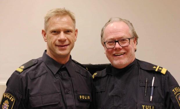 Joakim Stenman från polisen och Ulf Ängemo på tullen har arbetat tillsammans med att få fast de ansvariga för smuggeltrafiken. Foto: Eva Ekeroth